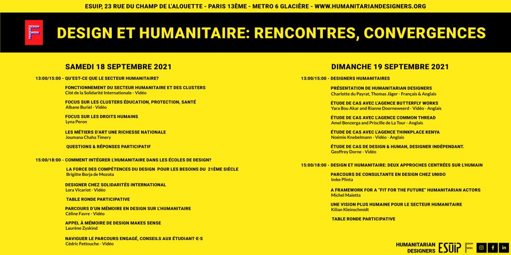 Programme complet humanitarian designers france design week